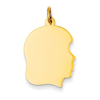 14k Plain Medium .013 Gauge Facing Right Engravable Girl Head Charm