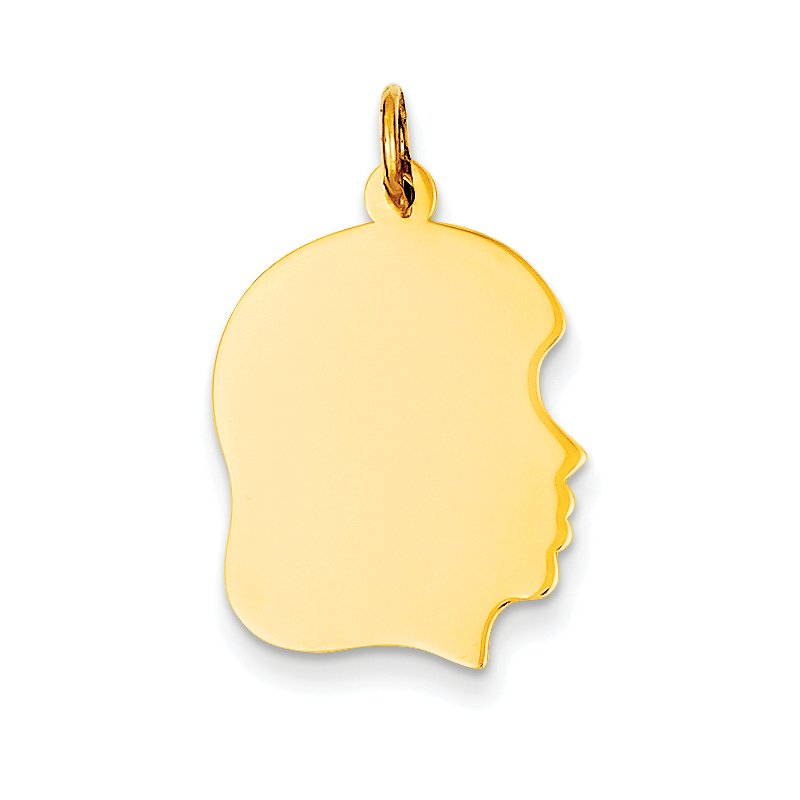Quality Gold 14k Plain Medium .013 Gauge Facing Right Engravable Girl Head Charm