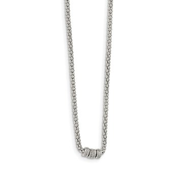 Sterling Silver White Sapphire Bead Necklace