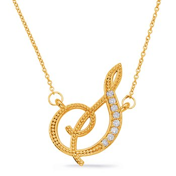 Yellow Gold Diamond Initial S Pendant