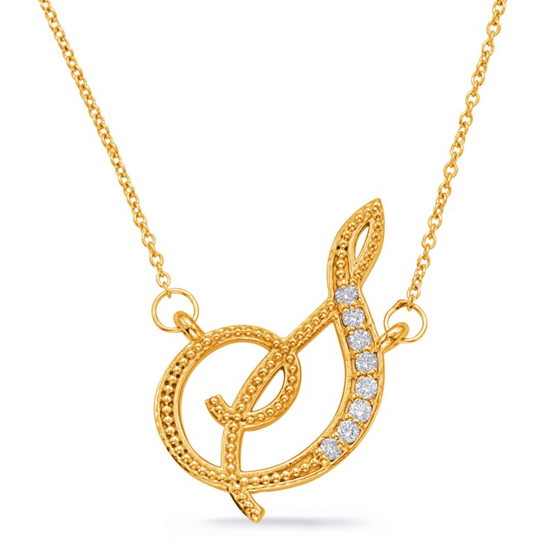 S. Kashi  & Sons Yellow Gold Diamond Initial S Pendant