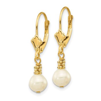 14K 5-6mm White Semi-round Freshwater Cultured Pearl Leverback Earrings