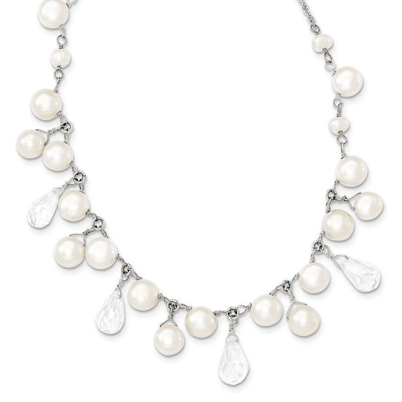 Quality Gold Sterling Silver FW Cultured Button Pearl/Crystal 16in Necklace