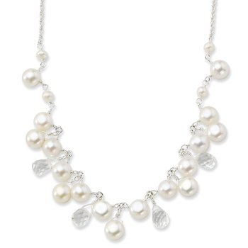 Sterling Silver FW Cultured Button Pearl/Crystal 16in Necklace