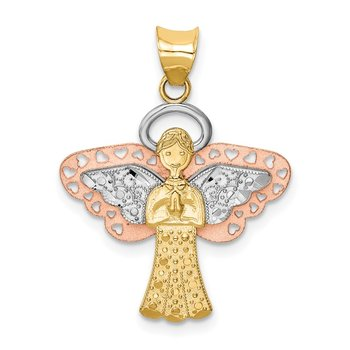 14K Two-tone w/White Rhodium Satin/Polished Angel Pendant