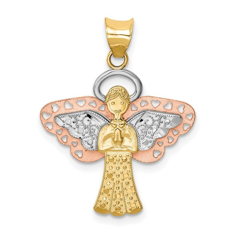 Quality Gold 14K Two-tone w/White Rhodium Satin/Polished Angel Pendant