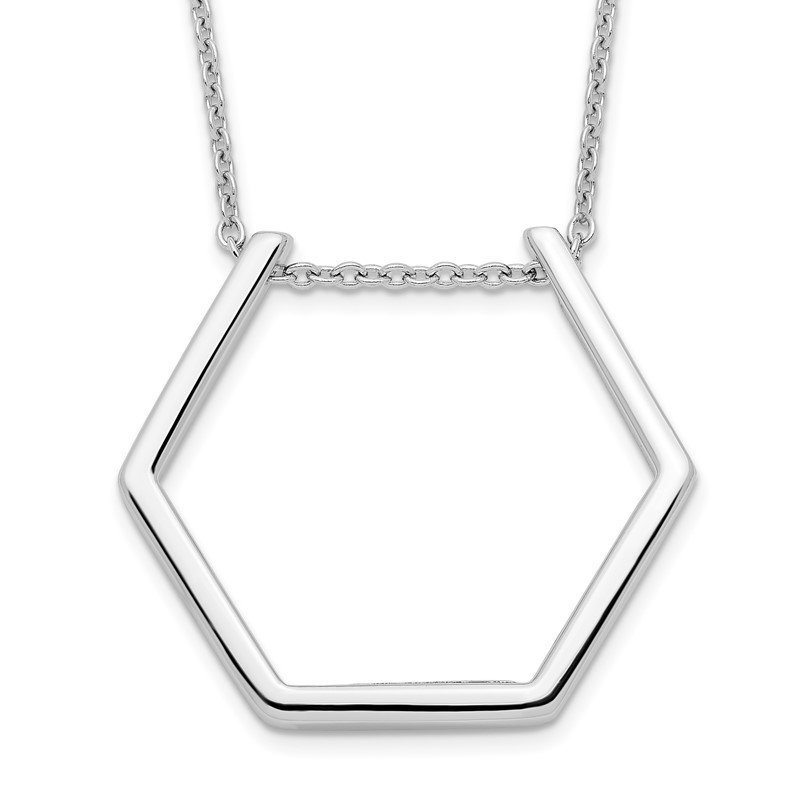 Quality Gold Sterling Silver Rhodium-plated Hexagon Necklace