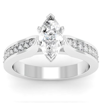 Cathedral Pave Diamond Engagement Ring