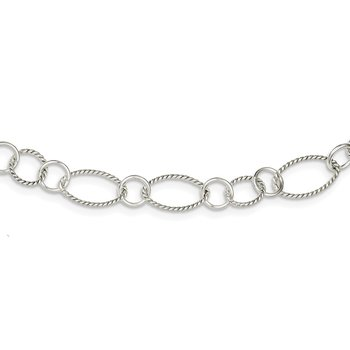 Sterling Silver Fancy Twisted Link Necklace