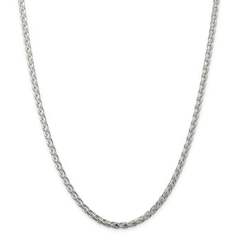Sterling Silver 3.5mm Diamond-cut Round Spiga Chain