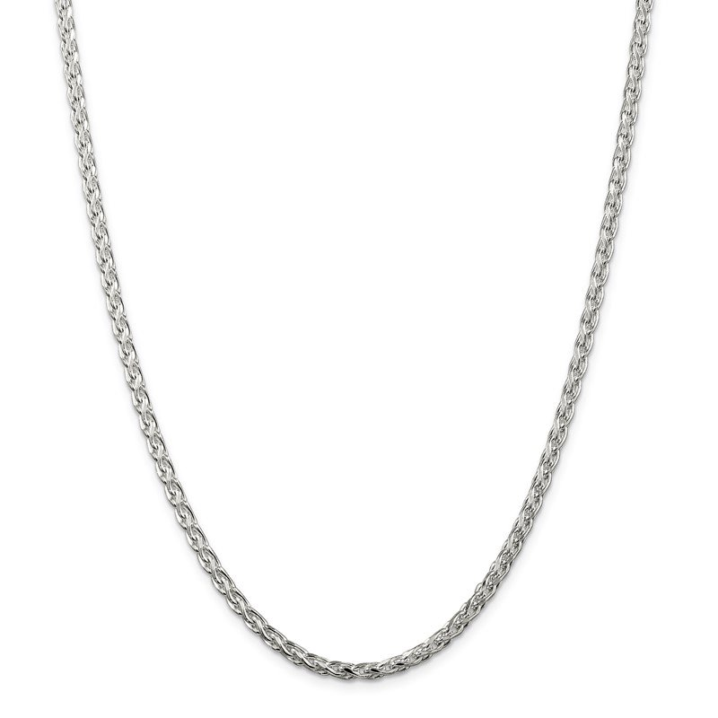 Quality Gold Sterling Silver 3.5mm Diamond-cut Round Spiga Chain