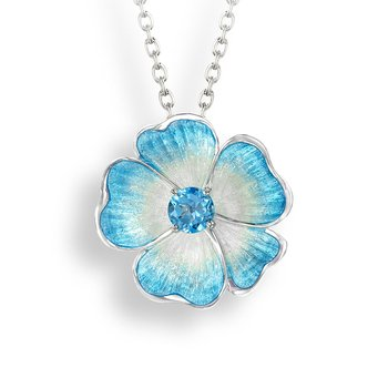 Blue Floral Necklace.Sterling Silver-Blue Topaz