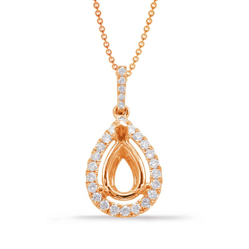 S. Kashi  & Sons Diamond Pendant For 6X4mm Pear Center