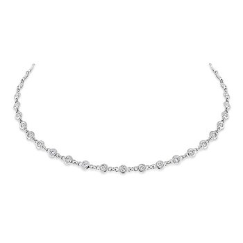 Diamond By The Yard Necklace in 14K White Gold with 69 Diamonds Weighing  1.60ct tw
