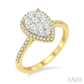 PEAR SHAPE LOVEBRIGHT BRIDAL DIAMOND RING