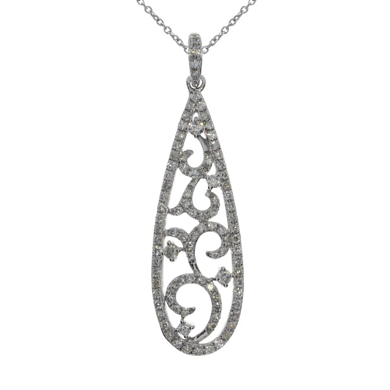 Color Merchants 14K White Gold Oblong Fashion Diamond Pendant