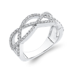 Essentials 10K White Gold 1/2 ct Diamond Criss Cross Wedding Band Ring