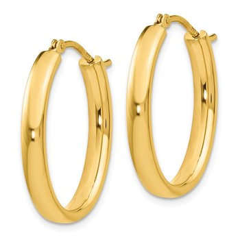Leslie's Sterling Silver Gold-plated Polished Oval Hoop Earrings