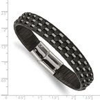 Chisel Stainless Steel Polished Black Leather and Wire 8.5in Bracelet
