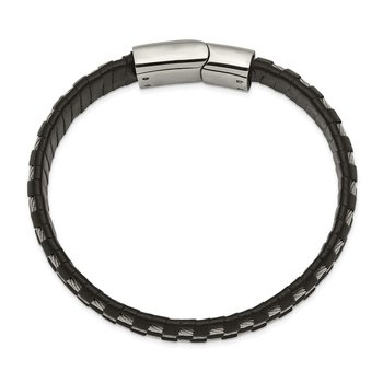 Stainless Steel Polished Black Leather and Wire 8.5in Bracelet