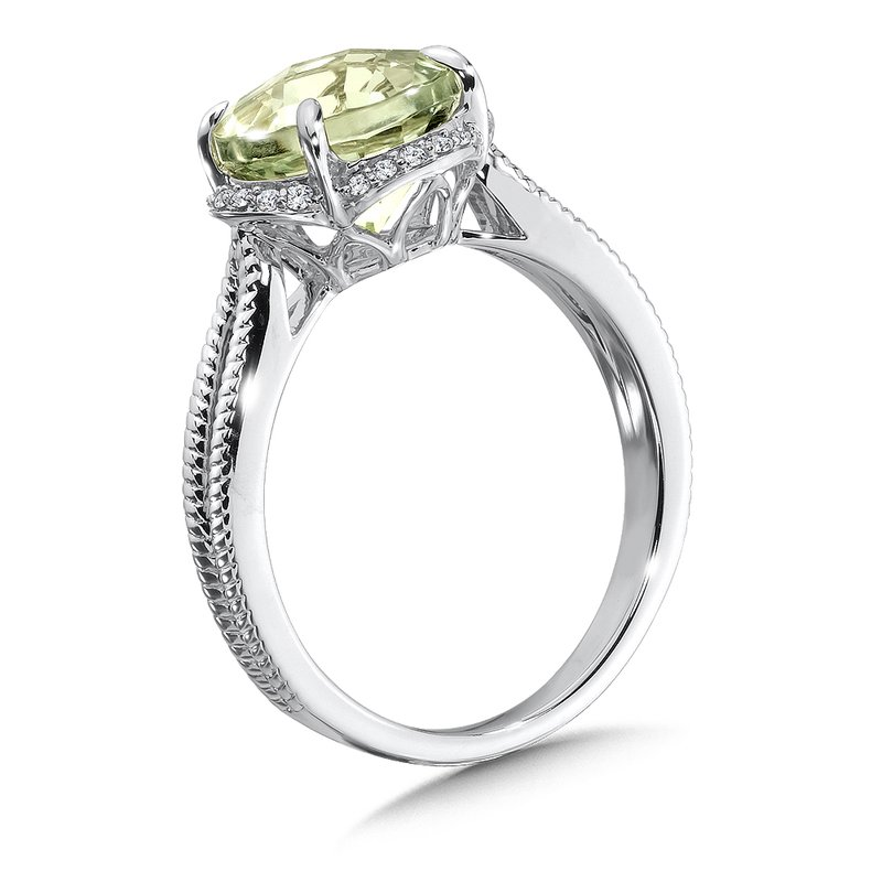 Colore Oro Green Amethyst and Diamond Ring in 14K White Gold