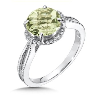 Green Amethyst and Diamond Ring in 14K White Gold