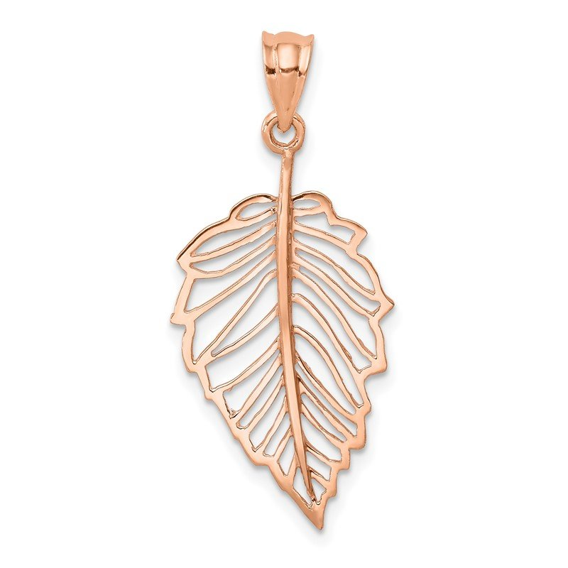 Quality Gold 14K Rose Polished Leaf Pendant