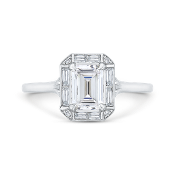 Emerald Cut Diamond Engagement Ring with Round Shank In 18K White Gold (Semi-Mount)