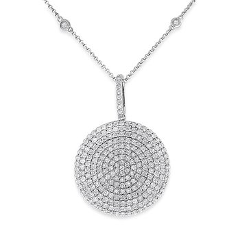 Diamond Concave Disc Necklace in 14k White Gold with 236 Diamonds weighing 2.03ct tw.