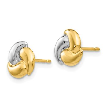14k Polished & Rhodium Fancy Post Earrings