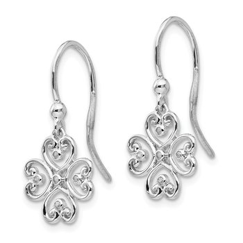 SS White Ice .03 ct Diamond Shepherd Hook Earrings