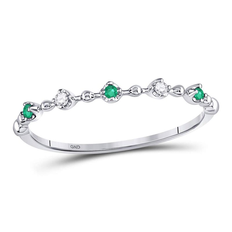 Gold-N-Diamonds, Inc. (Atlanta) 10kt White Gold Womens Round Emerald Slender Stackable Band Ring 1/12 Cttw
