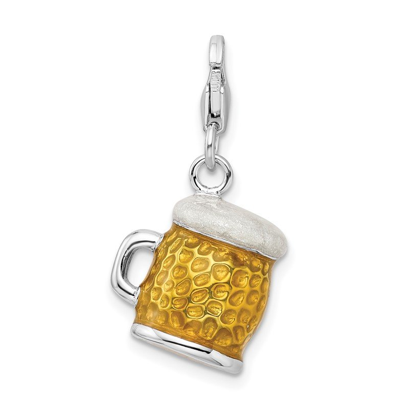 Quality Gold Sterling Silver Rhodium-plated w/Lobster Clasp Enameled BEER Mug Charm