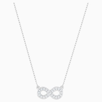 Infinity Necklace, White, Rhodium plated
