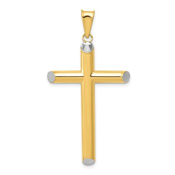 14k w/Rhodium 3-D Hollow Cross Pendant