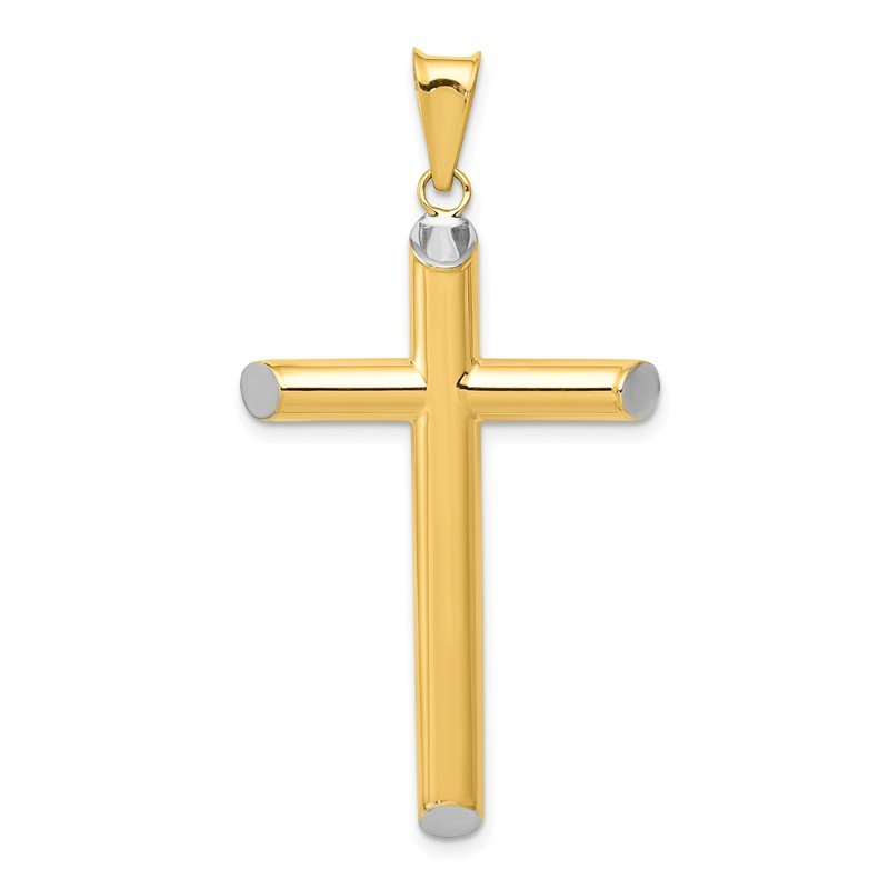 Quality Gold 14k w/Rhodium 3-D Hollow Cross Pendant