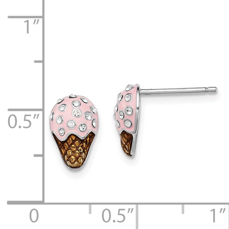 Quality Gold Sterling Silver Rhodium-plated Madi K Enamel Swarovski Ice Cream Earrings