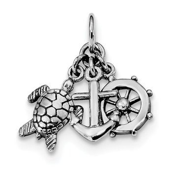 Sterling Silver Rhodium-plated Antiqued Turtle, Anchor & Wheel Charm