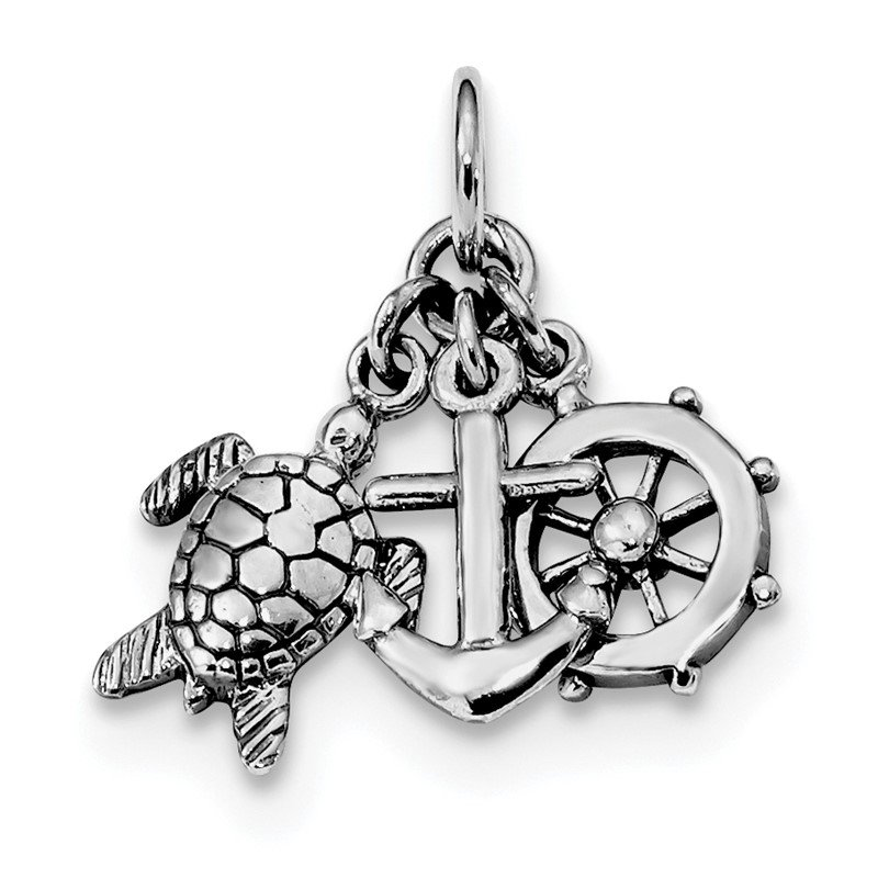 Quality Gold Sterling Silver Rhodium-plated Antiqued Turtle, Anchor & Wheel Charm