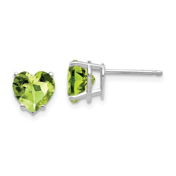 14k White Gold 7mm Heart Peridot Earrings