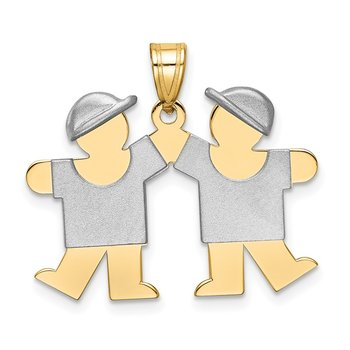 14k Two-Tone Small Double Boys Engravable Charm