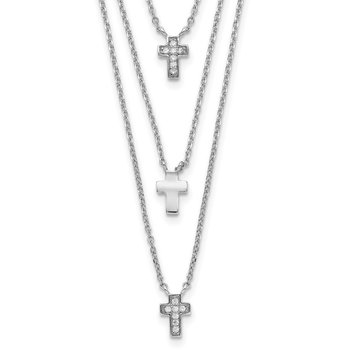 Sterling Silver RH-plated Three Strand CZ Cross w/ 2in ext. Necklace