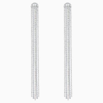 Fit Pierced Tassell Earrings, White, Rhodium plated