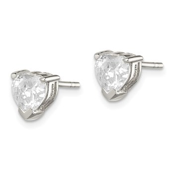 Sterling Silver 6mm Heart Basket Set CZ Stud Earrings