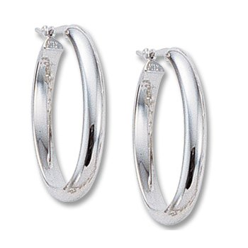 14kt Wh Oval Hoop Earrings