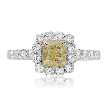 One Carat Yellow Diamond Halo Ring