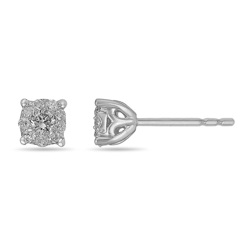 BB Impex 14K WG Diamond Cluster Galaxy Ear Studs