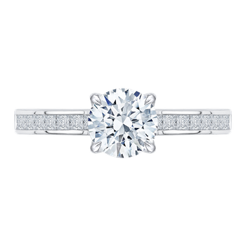 18K White Gold Cut Round Diamond Cathedral Style Engagement Ring (Semi-Mount)