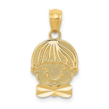 14k Polished Boy Head Pendant