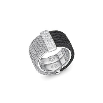 Black & Grey Cable Colorblock Ring with 18kt White Gold & Diamonds